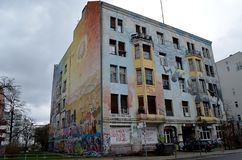 Een verlaten huis in Berlijn - de winter van 2017 Royalty-vrije Stock Afbeeldingen