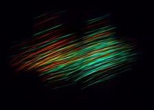 Een verlichte abstracte digitale golf van niet duidelijke lichtgevende deeltjes en een flits lichteffect royalty-vrije stock afbeelding