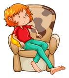 Een vermoeid meisje bij de stoel vector illustratie