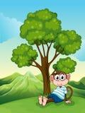 Een vermoeide aap die onder de boom bij de heuveltop rusten stock illustratie