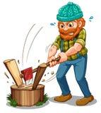 Een vermoeide houthakker royalty-vrije illustratie