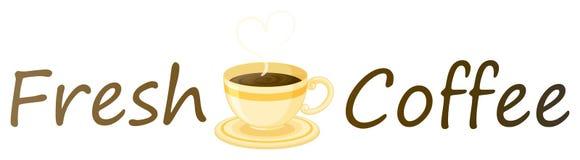 Een vers koffieetiket met een kop van hete koffie Royalty-vrije Stock Fotografie