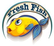 Een vers vissenetiket met een vis Stock Afbeelding