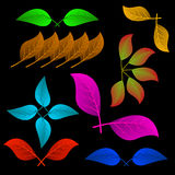 Een verscheidenheid van abstracte bladeren vector illustratie