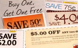 Een verscheidenheid van coupons Royalty-vrije Stock Foto