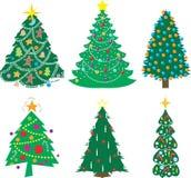 Een verscheidenheid van Kerstbomen Stock Foto's