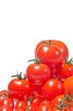 Een verscheidenheid van omhoog opgestapelde tomaten Royalty-vrije Stock Foto