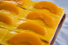Een verse gesneden abrikozencake, stock foto's
