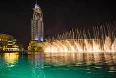 Een verslag-plaatsend fonteinsysteem plaatste op Burj Khalifa Lake Stock Foto's