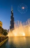 Een verslag-plaatsend fonteinsysteem plaatste op Burj Khalifa Lake Royalty-vrije Stock Fotografie