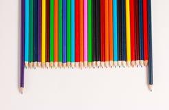 Een vertoning van kleurpotloden Royalty-vrije Stock Foto's