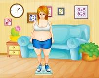 Een vet meisje die haar gewicht binnen het huis wegen Royalty-vrije Stock Foto