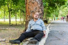 Een vette Aziatische kerelslaap onder de boom naast de straat Stock Foto