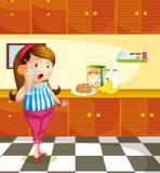 Een vette dame die een glas jus d'orange houden stock illustratie