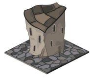 Een videospelletjevoorwerp: een oud huis Stock Afbeeldingen
