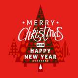 Een vierkant vectorbeeld met het van letters voorzien en een decoratieve bont-boom en gestileerde Kerstmisbomen stock afbeeldingen