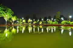 Een vijver die door bomen bij nacht wordt omringd Stock Foto