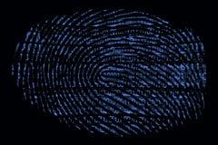 Een vingerafdruk met een binaire binnen code royalty-vrije illustratie