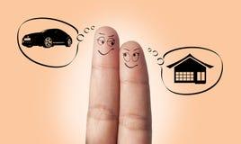 Een vingerpaar in liefde en huis Stock Foto