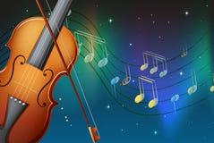 Een viool en zijn boog met muzieknoten Stock Afbeeldingen