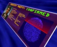 Een virtuele bevestigende de identiteitsdiefstal van de werkelijkheidsvertoning Stock Afbeeldingen