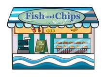 Een vis met patatwinkel Stock Afbeelding