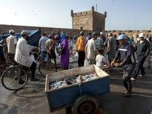 Een visser die zijn vangst van zeevruchten in de haven van Essaouira, Marokko rijden Stock Fotografie