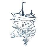 Een vissersboot met een vangst stock illustratie