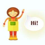 Een vlak tuinmanmeisje in gele schort begroet u Een wolk wordt getoond voor de dialoog met de gebeëindigde tekst ` hallo! ` Stock Foto