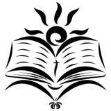 Een vliegende vogel, een open Bijbel en de het toenemen zon stock illustratie
