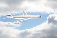 Een vliegtuig in de hemel stock illustratie