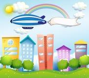 Een vliegtuig met een lege banner bij de rug vector illustratie