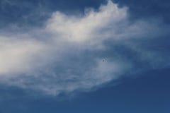 Een vliegtuig vliegt in de hemel Royalty-vrije Stock Afbeeldingen