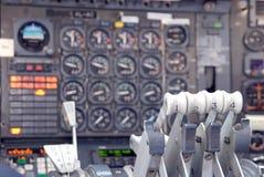 In een vliegtuigcabine. royalty-vrije stock afbeelding