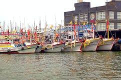 Een Vloot van Vissersboten in Zuidelijk Taiwan stock fotografie