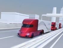 Een vloot van zelf-drijft elektrische semi vrachtwagens die op weg drijven royalty-vrije illustratie