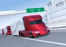 Een vloot van zelf-drijft elektrische semi vrachtwagens die op weg drijven vector illustratie