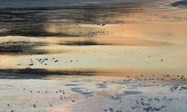 Een vlot rivierijs bij zonsondergang Stock Fotografie
