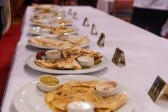 Een voedselcompatition met quesadilla stock foto