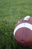 Een voetbal op gras stock afbeeldingen