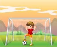 Een voetballer in een rood overhemd vector illustratie