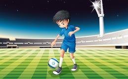 Een voetballer het schoppen bal met vlag van Israël royalty-vrije illustratie
