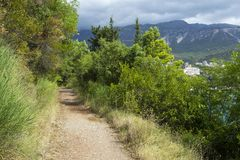 Een voetpad in de bergen dichtbij het overzees In de zomer op een bewolkte dag royalty-vrije stock afbeeldingen