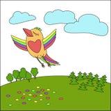 Een vogel die boven de aarde, een illustratie voor decoratie vliegen vector illustratie