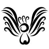 Een vogel met een bosje, opgeheven vleugels, zwarte vlotte lijnen vector illustratie