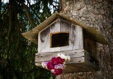 Een vogelhuis die op een pijnboomboom hangen in een bos in Tiroolse alpen royalty-vrije stock fotografie