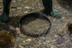 Een volledige gouden pan in de rivier stock foto's