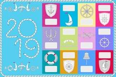 Een voorbeeld van een kalender met zeemanssymbolen Nieuwjaarbanner 2019 stock illustratie