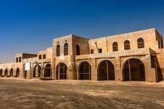 Een voorgevel en een ingang aan Aqeer-Kasteel, Saudi-Arabië stock fotografie
