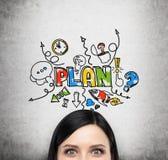 Een voorhoofd van donkerbruine dame die over een businessplan droomt Het concept bedrijfsontwikkeling De kleurrijke schets wordt  Stock Afbeelding